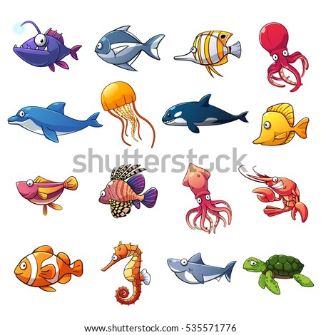 stock-vector-cartoon-collection-of-fish-and-sea-animals-vector-art-and-illustration
