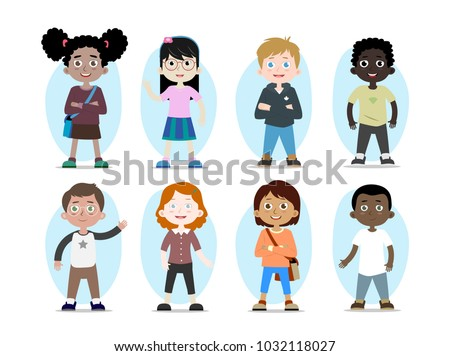 Cartoon collection of kids characters, various human races. Vector children personages of different nationalities  #1032118027