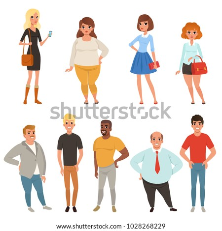 Cartoon collection of young and adult people in different poses. Men and women characters wearing casual clothes. Full-length portraits. Flat vector design