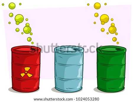 Cartoon coloful metal barrel with yellow radiation sign and green gas bubbles. Toxic waste. Vector set icon.