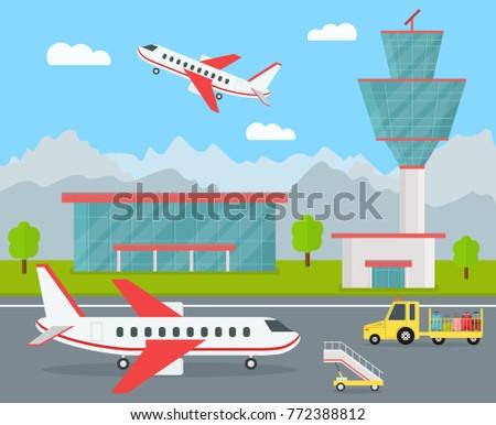 cartoon color airport terminal