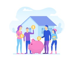 Cartoon Color Characters People and Family Saves Money Concept Flat Design Include of Coin, Piggy and House. Vector illustration
