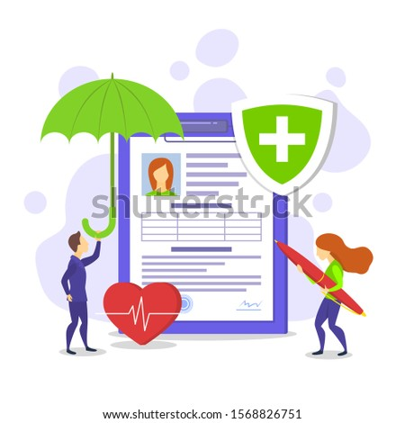 Cartoon Color Characters People and Health Concept Flat Design Include of Document, Heart and Umbrella. Vector illustration
