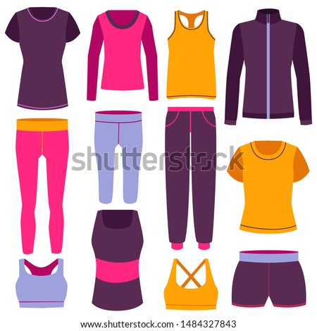 Cartoon Color Clothes Fitness Icon Set Include of Comfortable Elastic Pants, Jacket and Tights. Vector illustration of Icons #1484327843