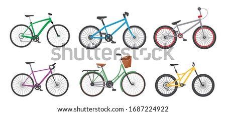 Cartoon Color Different Bicycles Icon Set for Urban, Sport and Mountain Flat Design. Vector illustration of Icons Сток-фото ©