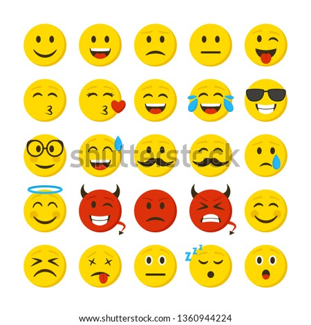 Cartoon Color Emoticons Sign Icon Set Include of Sad, Smiley, Angry, Love and Cry Expression. Vector illustration of Icons Сток-фото ©