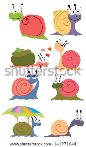 Cartoon color snails over white, vector