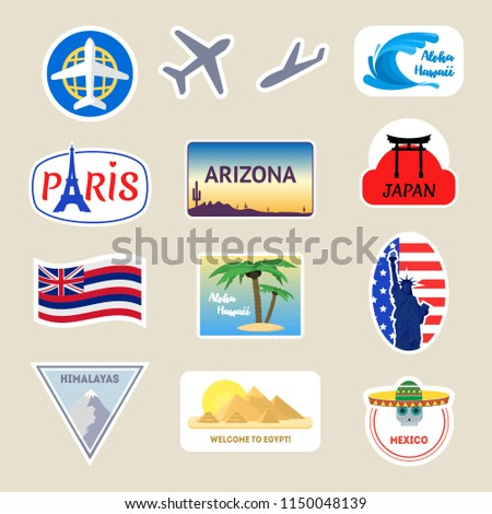Cartoon Color Travel Stickers Suitcase Set Include of Paris, Usa, Egypt and Mexico Flat Design Style. Vector illustration #1150048139