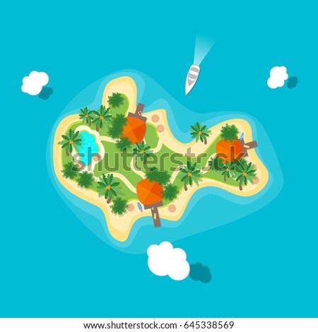 cartoon color tropical island