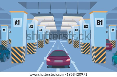 cartoon color underground car