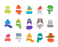 Cartoon Color Winter Hats and Scarves Headwear Icon Set Store Concept Flat Design Style Knitting Caps for Cold Weather. Vector illustration