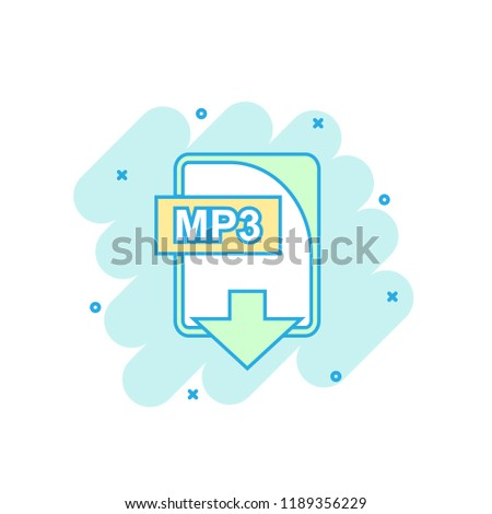 Cartoon colored MP3 file icon in comic style. Mp3 download illustration pictogram. Document splash business concept.