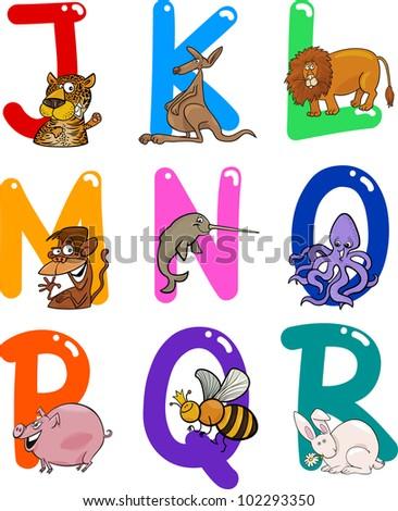 cartoon colorful alphabet set