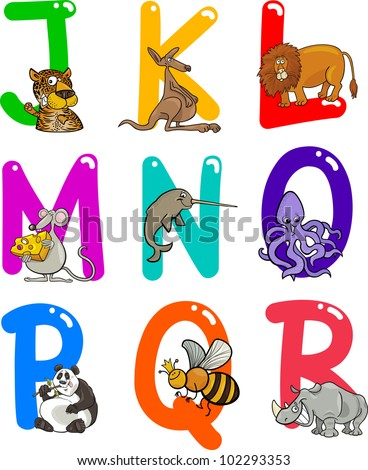 cartoon colorful alphabet set