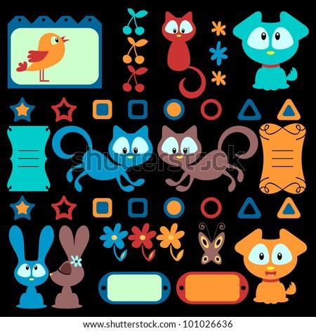 Cartoon colorful animals set