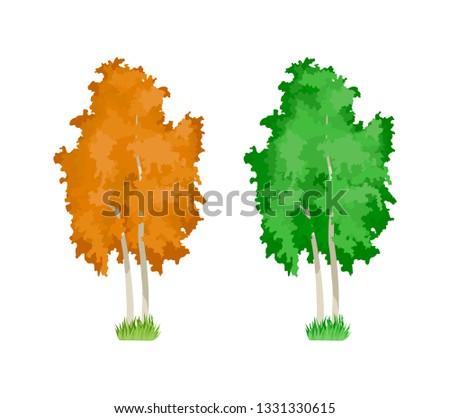 cartoon colorful birch trees