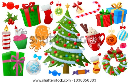 Cartoon colorful Christmas element. Christmas objects isolated on white, christmas tree, santa, gifts, toys, ball, candel, sweet. Christmas and New Year elements for decor. Vector illustration Сток-фото ©