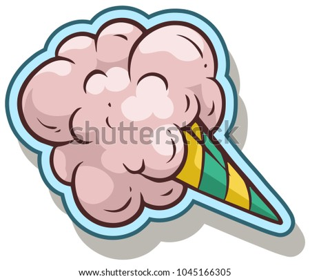 Cartoon colorful cotton candy isolated on white background. Vector sticker icon.