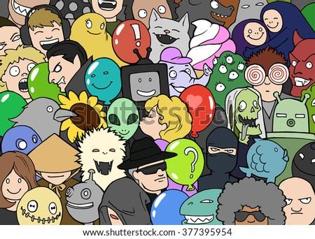 cartoon colorful doodle