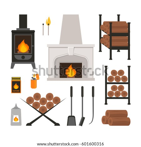 Cartoon Colorful Fireplace Icons Set Flat Style Design for Web. Vector illustration