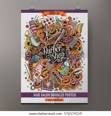 Cartoon colorful hand drawn doodles hair salon poster template. Very detailed, with lots of objects illustration. Funny vector artwork. Corporate identity design