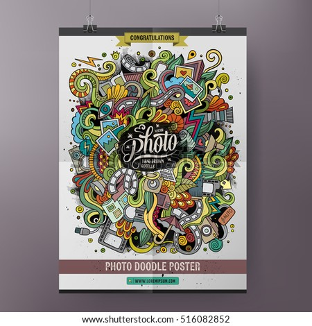 Cartoon colorful hand drawn doodles Photo poster template. Very detailed, with lots of objects illustration. Funny vector artwork. Corporate identity design.