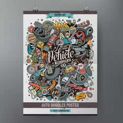 Cartoon colorful hand drawn doodles Vehicle poster template. Very detailed, with lots of objects illustration. Funny vector artwork. Corporate identity design
