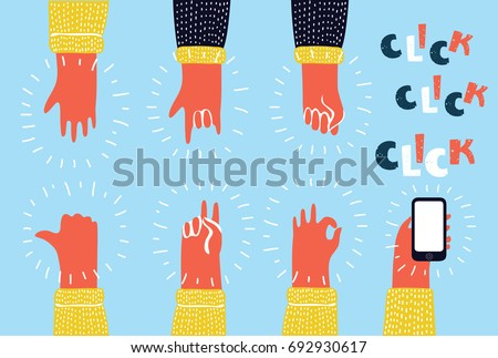 Cartoon colorful illustration set of Hands showing different gestures isolated on white human arm hold collection communication: Peace, fist, five, thumb up, OK, Peace, Smartphone