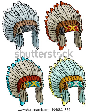 Cartoon colorful native american indian chief headdress isolated on white background. Boho style. Vector icon set.
