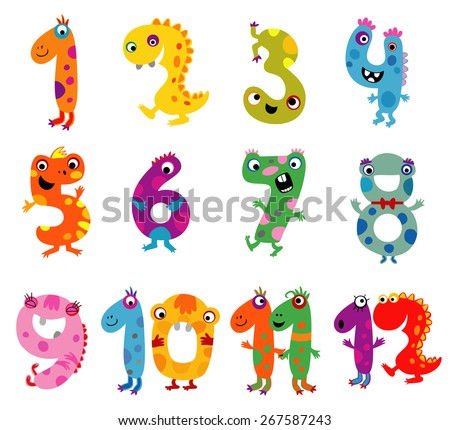 cartoon colorful numbers in the