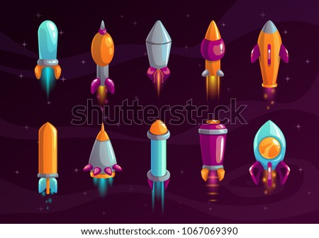cartoon colorful space missile