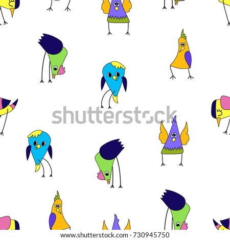 Cartoon colorful triangular birds seamless. Color pattern. Funny characters.