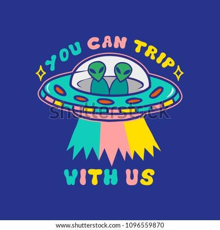 cartoon colorful ufo with