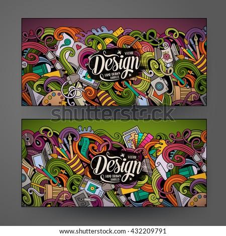 Cartoon colorful vector hand drawn doodles design artistic corporate identity. 2 Horizontal banners design. Templates set