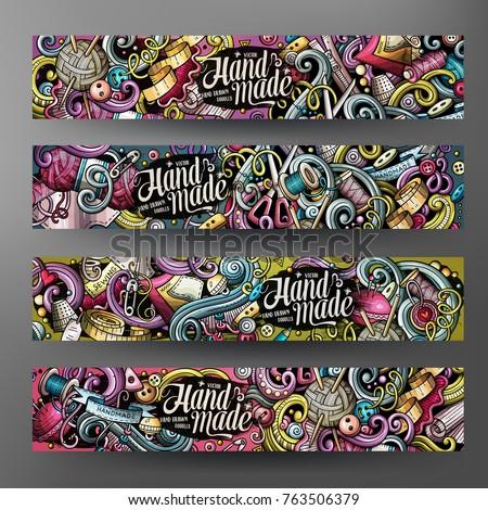 Cartoon colorful vector hand drawn doodles handmade corporate identity. 4 Horizontal banners design. Templates set