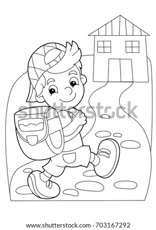 cartoon coloring page   boy