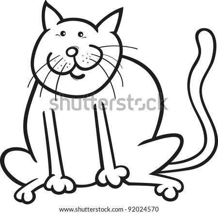 cartoon coloring page illustration of funny sitting cat