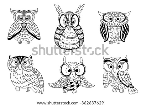 cartoon colorless forest owls