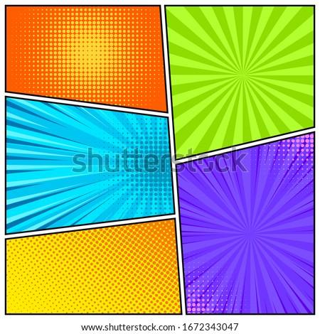 Cartoon comic backgrounds set. Comics book colorful poster with halftone elements. Retro Pop Art style. Vector illustration. Foto d'archivio ©