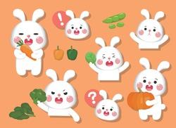 Cartoon comic illustration rabbit emoji with various vegetables set