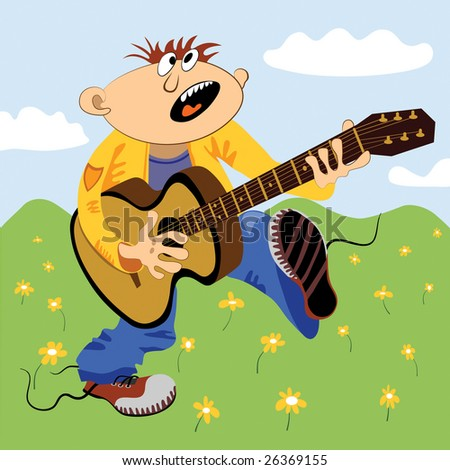 Cartoon comic personage playing guitar and singing loudly outside against green hills during summer.