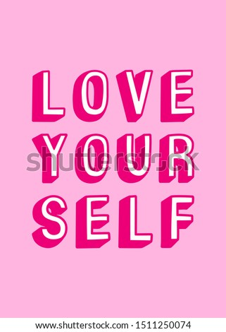 Cartoon comic style phrase, lettering quote 'Love yourself'. Text isolated on pink background. Vector illustration. ストックフォト ©