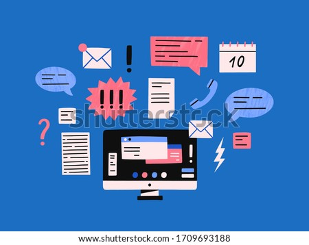 Cartoon computer monitor with many internet notifications vector flat illustration. Modern device with overwhelmed letters, calls, text messages and emails isolated. Desktop with important duty task