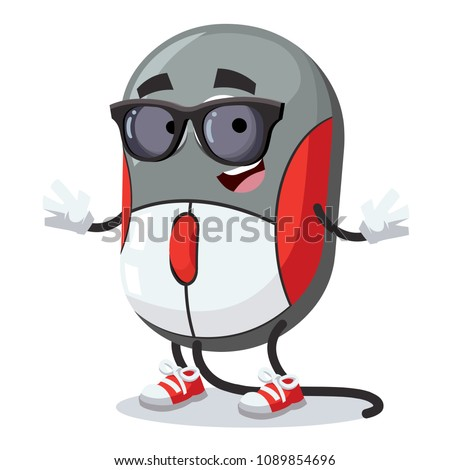 cartoon computer mouse character mascot in black sunglasses on a white background