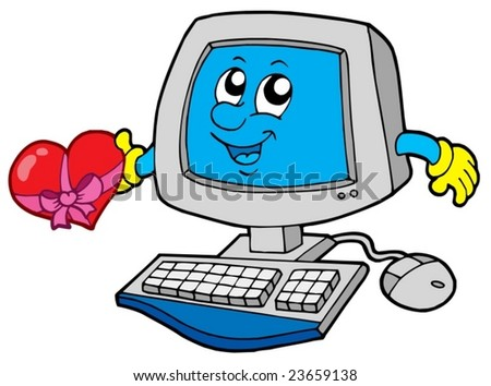 Cartoon computer with heart - vector illustration. - stock vector