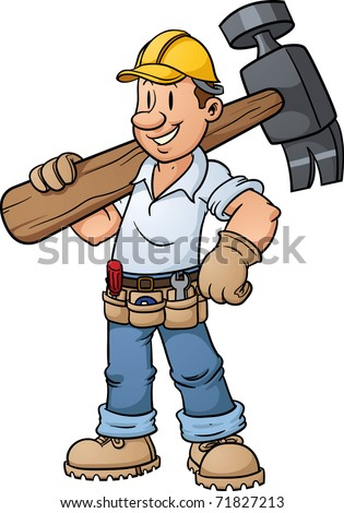 Cartoon construction worker carrying a big hammer. Vector illustration with simple gradients.