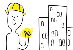 Cartoon constructor profession and buildings. Minimalistic poster. builder shows a hand super. Use as poster social call career choice for student s business solution. Vector isolated hand draw