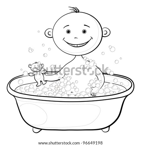 Cartoon, contours: cheerful smiling child sitting in a bath with soap and holding a teddy bear. Vector