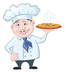 Cartoon cook - chef holds a delicious hot pizza, isolated on white background. Vector