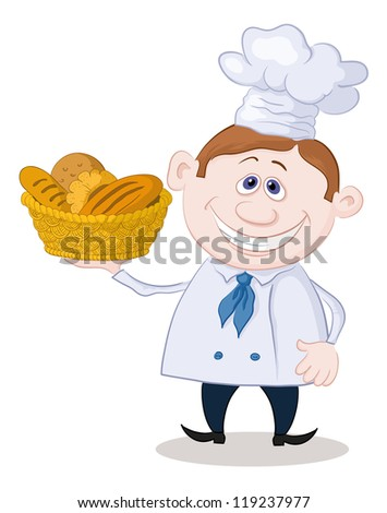 Cartoon cook - chef with a basket of fresh bread, isolated on white background. Vector